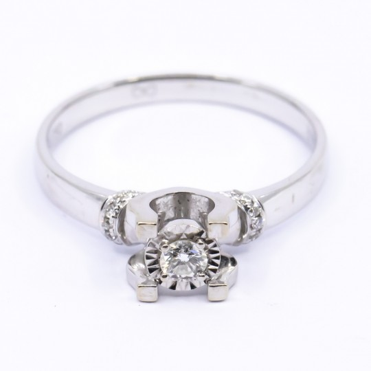 Bague Or Blanc 18k Solitaire