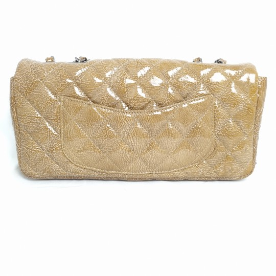 CHANEL CLASSIC FLAP BAG CRINKLED PATENT BEIGE