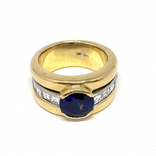 Bague Or Jaune, Diamants et Saphir