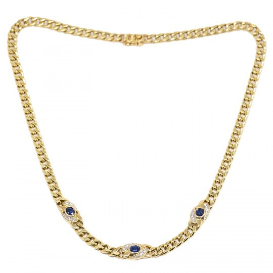 Collier Or 18k, Saphirs et Diamants