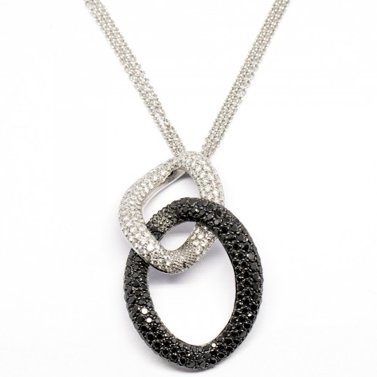 Collier en Or 18K, Diamants & Diamants Noirs