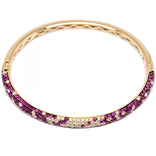 Bracelet Or 14k, Diamants & Rubis