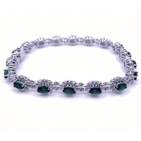 bracelet 18k  diamants/émeraudes
