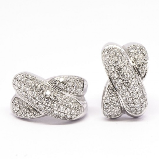 Boucles d'Orreile Or Blanc 18k & Diamants