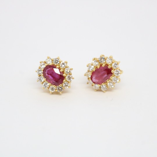Boucles d'oreilles Or 18k Rubis & Diamants