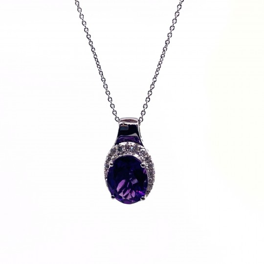 COLLIER OR 18CTS AMETHYSTE ET DIAMANTS